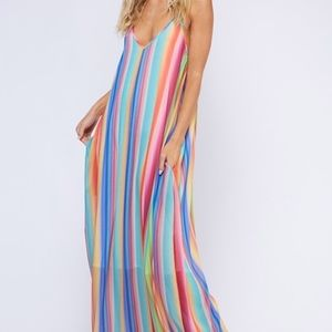 Dresses & Skirts - Rainbow Stripe Maxi dress w/pockets